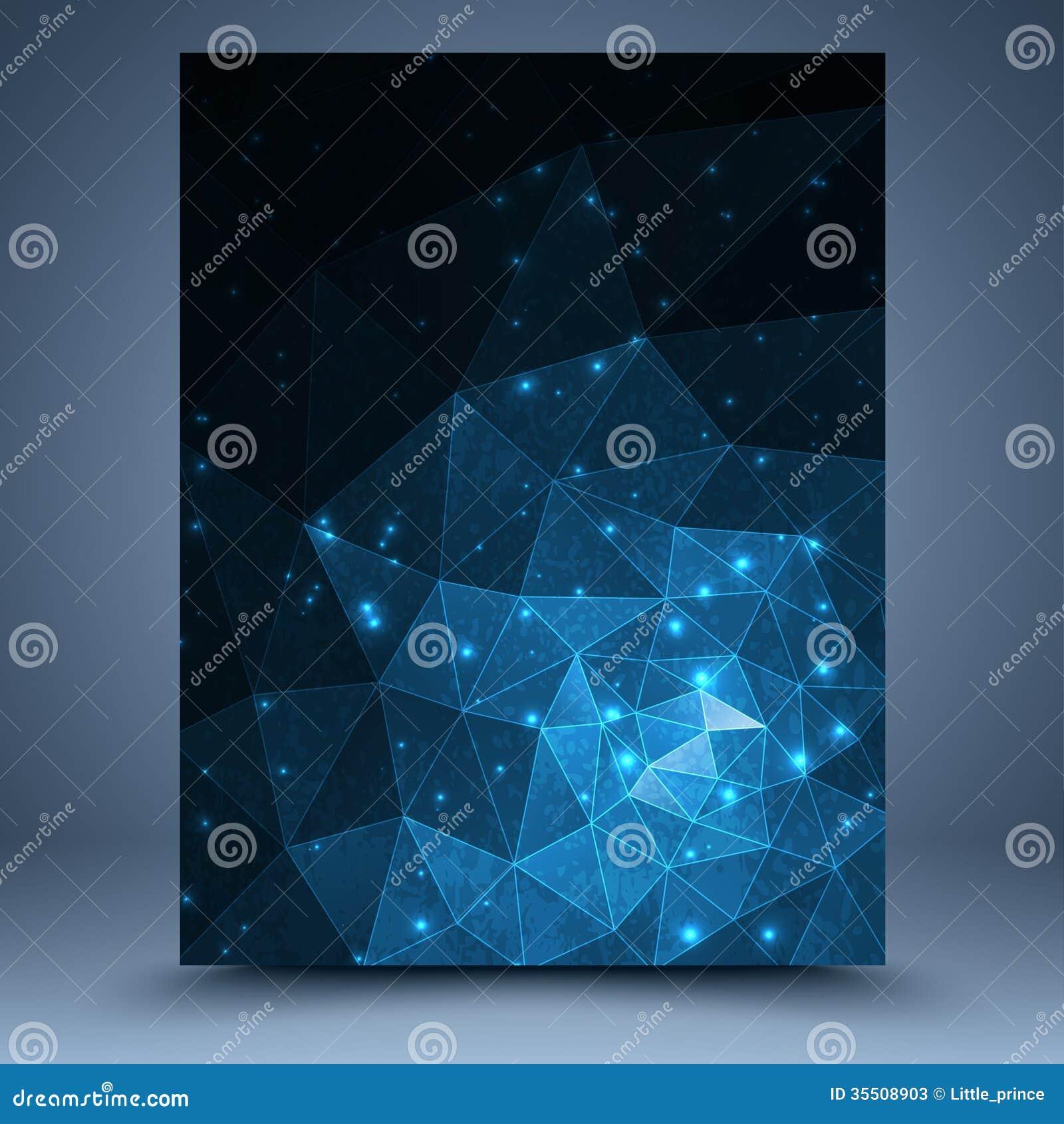 Blauwe geometrische tamplate