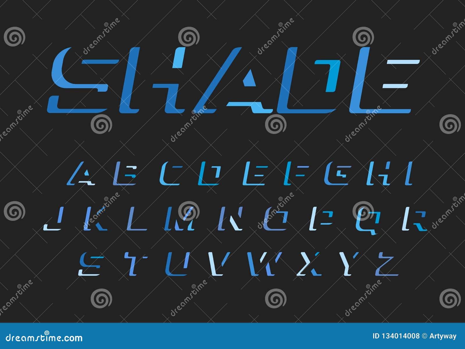 Blauwe geplaatste brieven Vector Latijns alfabet De doopvont van de duisterniskleur Knipsel negatief ruimtemonogram en embleemmal