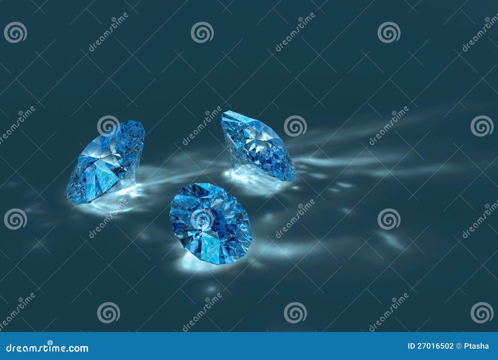 Blauwe glanzende diamanten