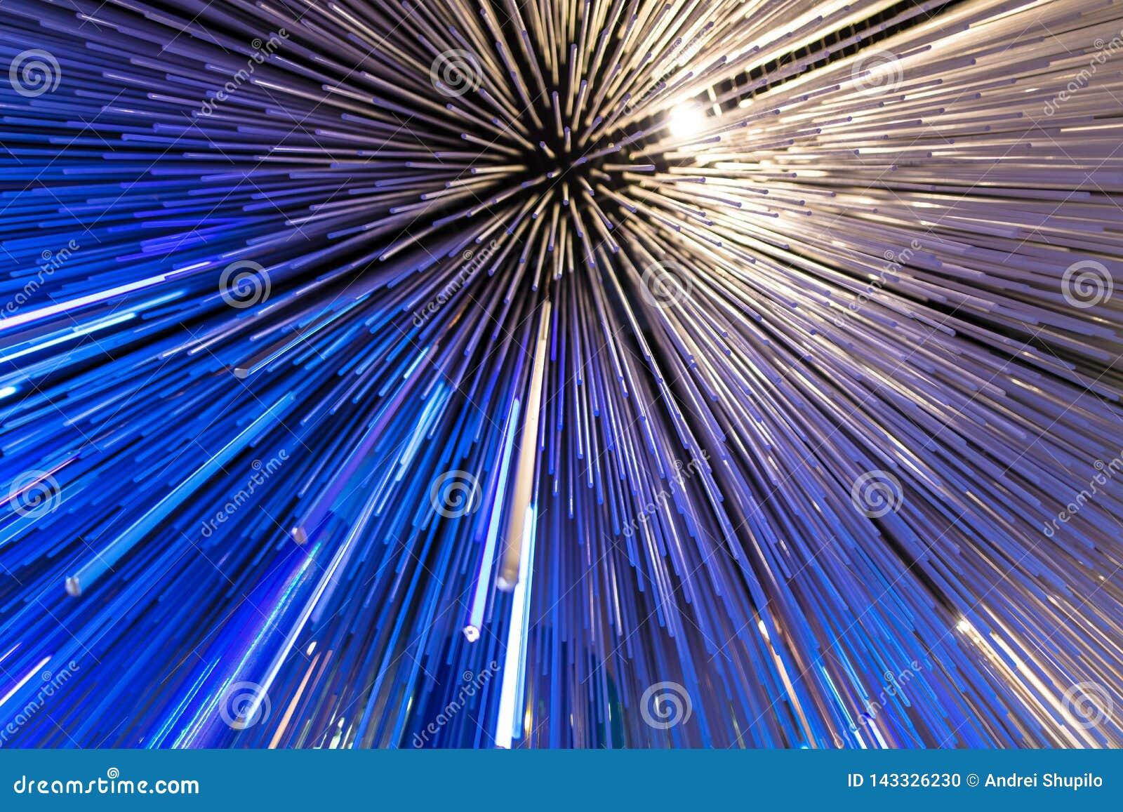 Blauwe gloeiende glaslijnen als abstracte achtergrond