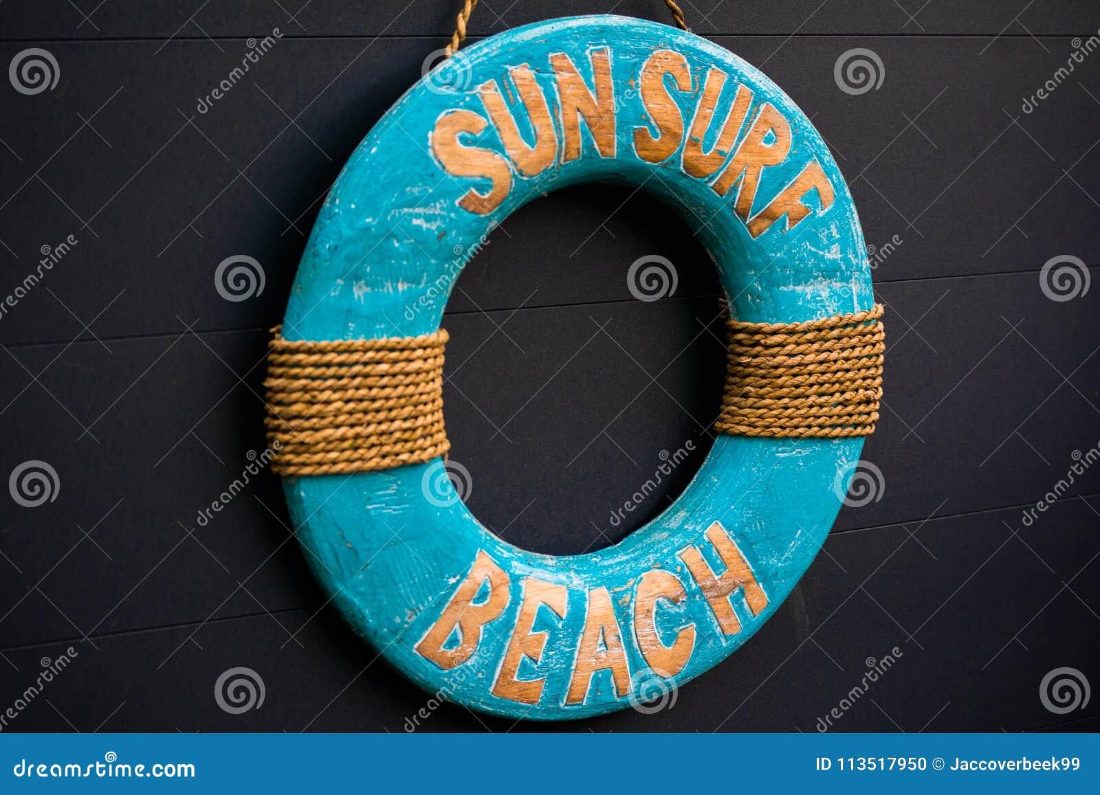Blauwe Houten van het het Strandteken van de Zonbranding de Zomer Kleurrijke Kabel