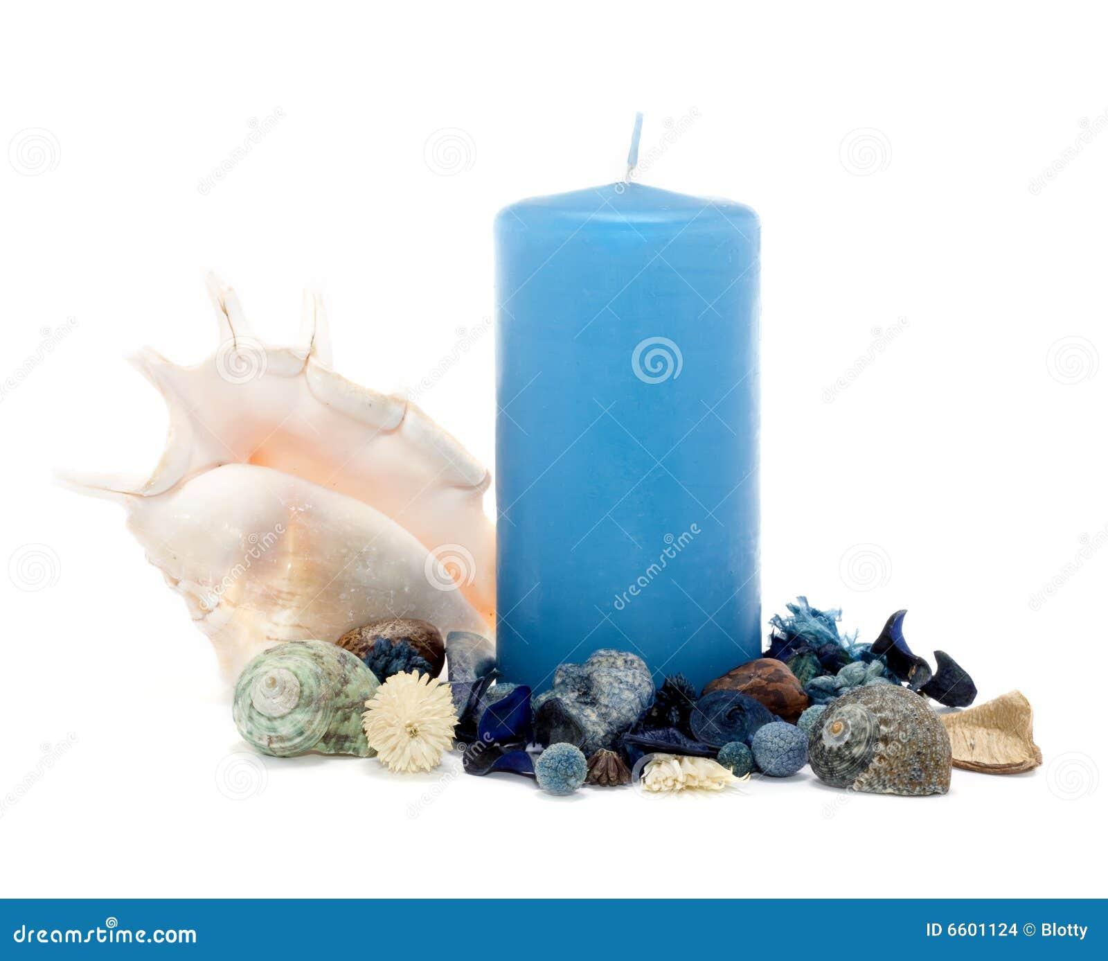 Blauwe kaars met decoratie stock afbeeldingen afbeelding 6601124 - Blauwe turquoise decoratie ...