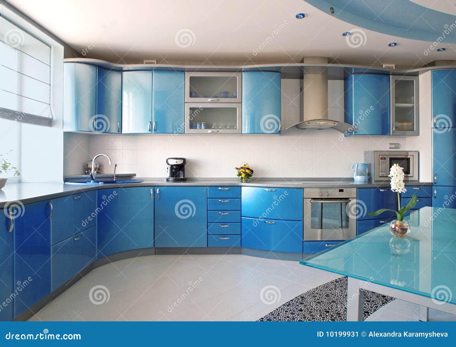 Blauwe Keuken Stock Afbeelding - Afbeelding: 10199931