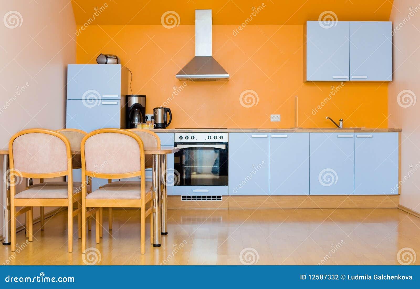 Blauwe Keuken Stock Fotografie - Afbeelding: 12587332