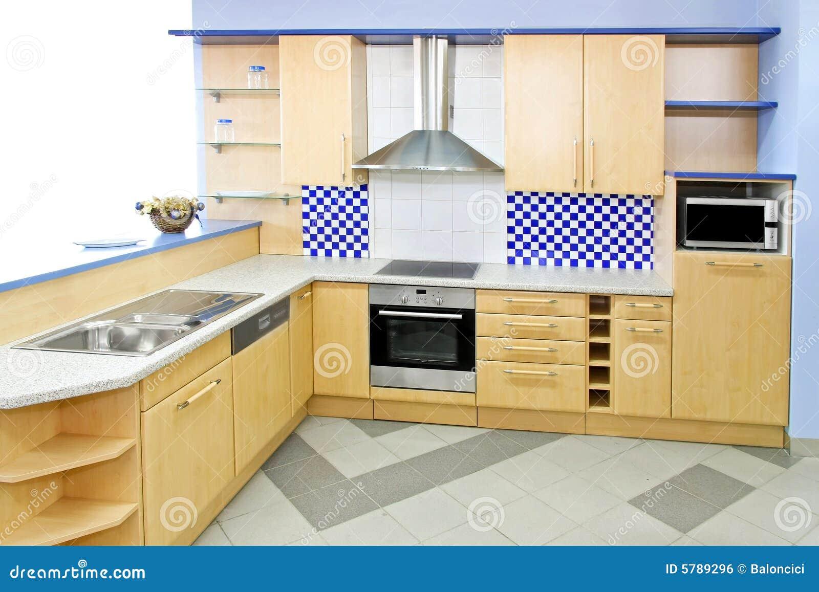 Blauwe keuken royalty vrije stock afbeelding afbeelding 5789296 - Keuken met teller ...