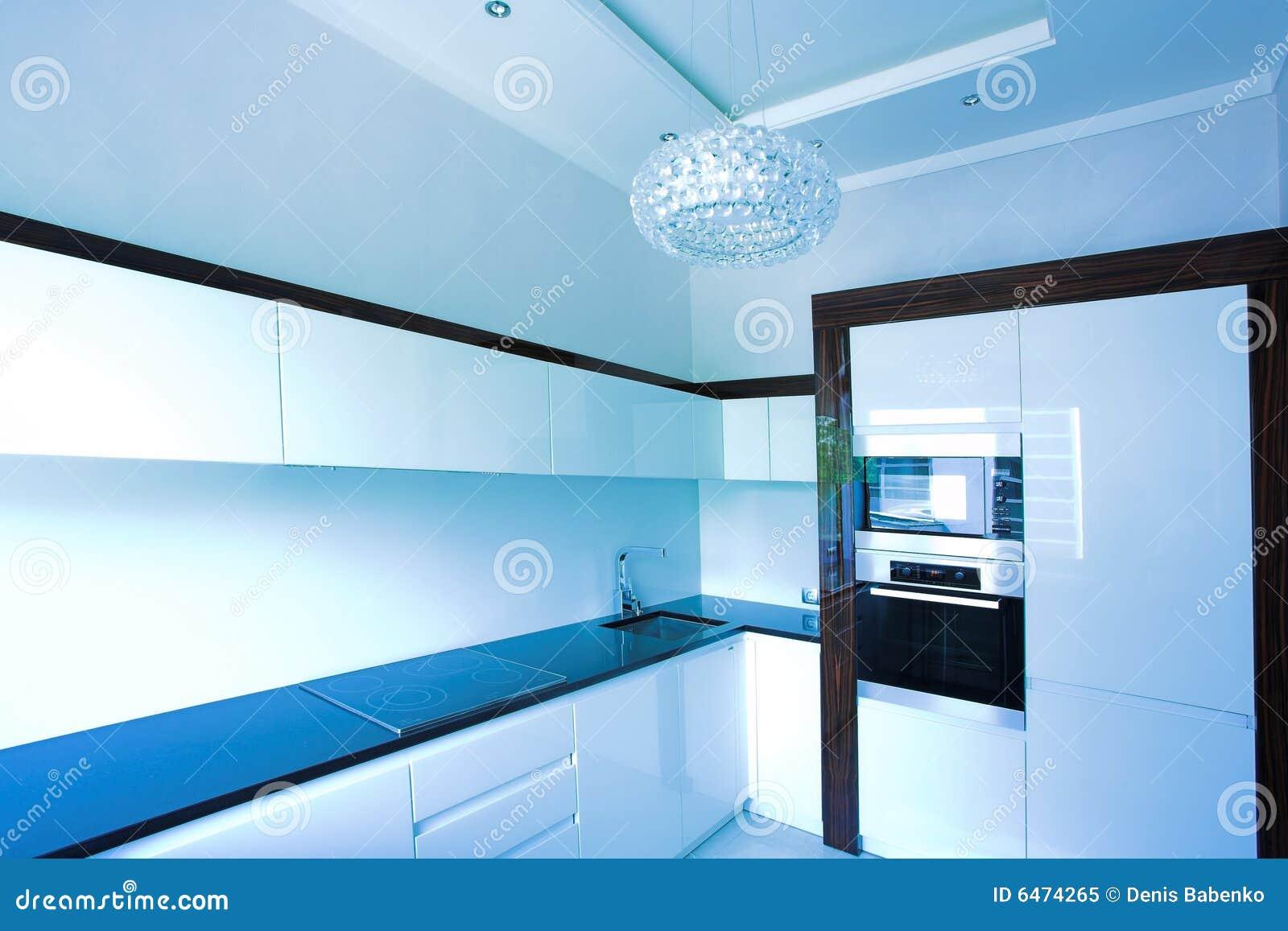 Blauwe Keuken Binnenlandse Hoek Royalty-vrije Stock Foto ...