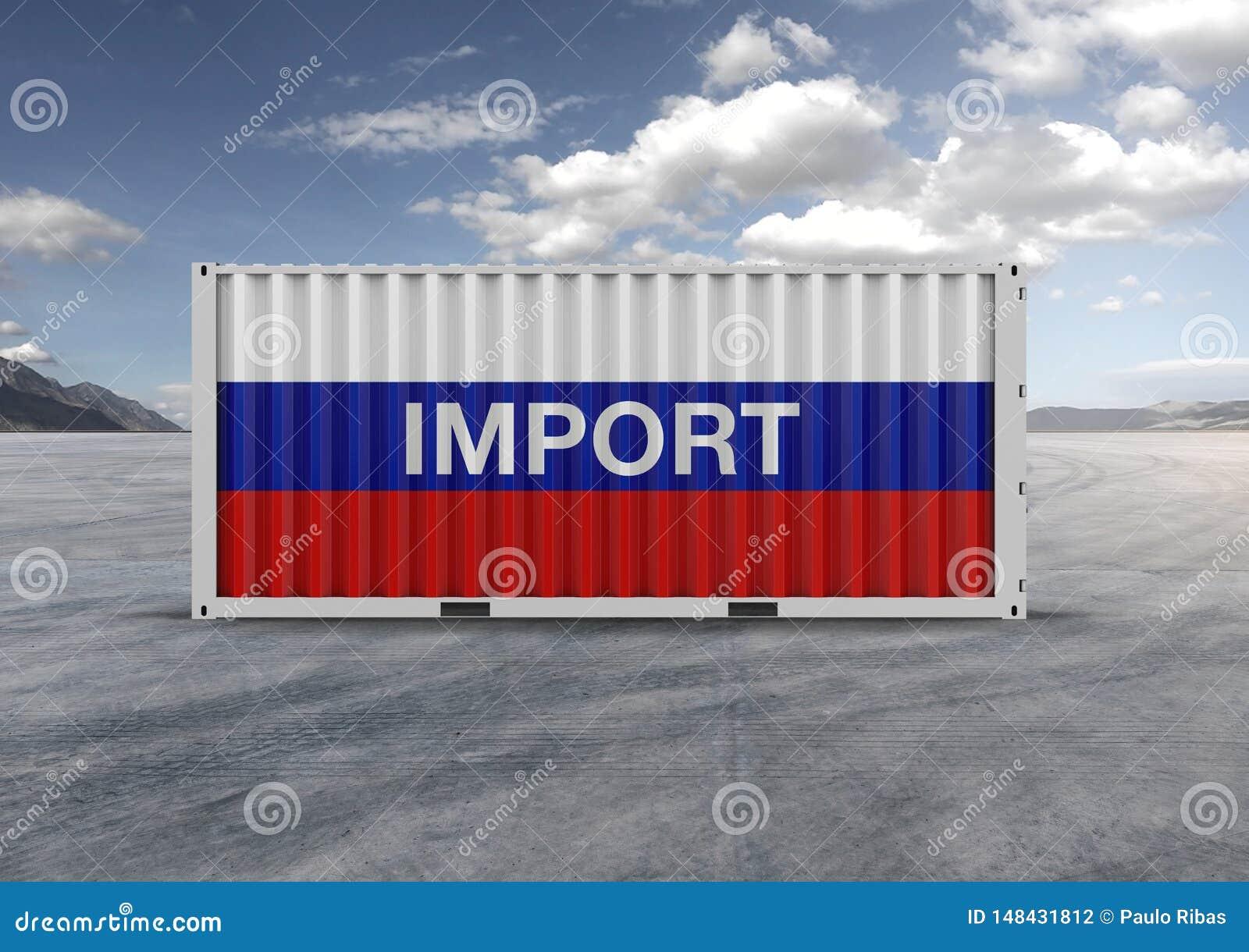 Blauwe kleuren, wit, rood, container het 3d teruggeven Grijze wolken