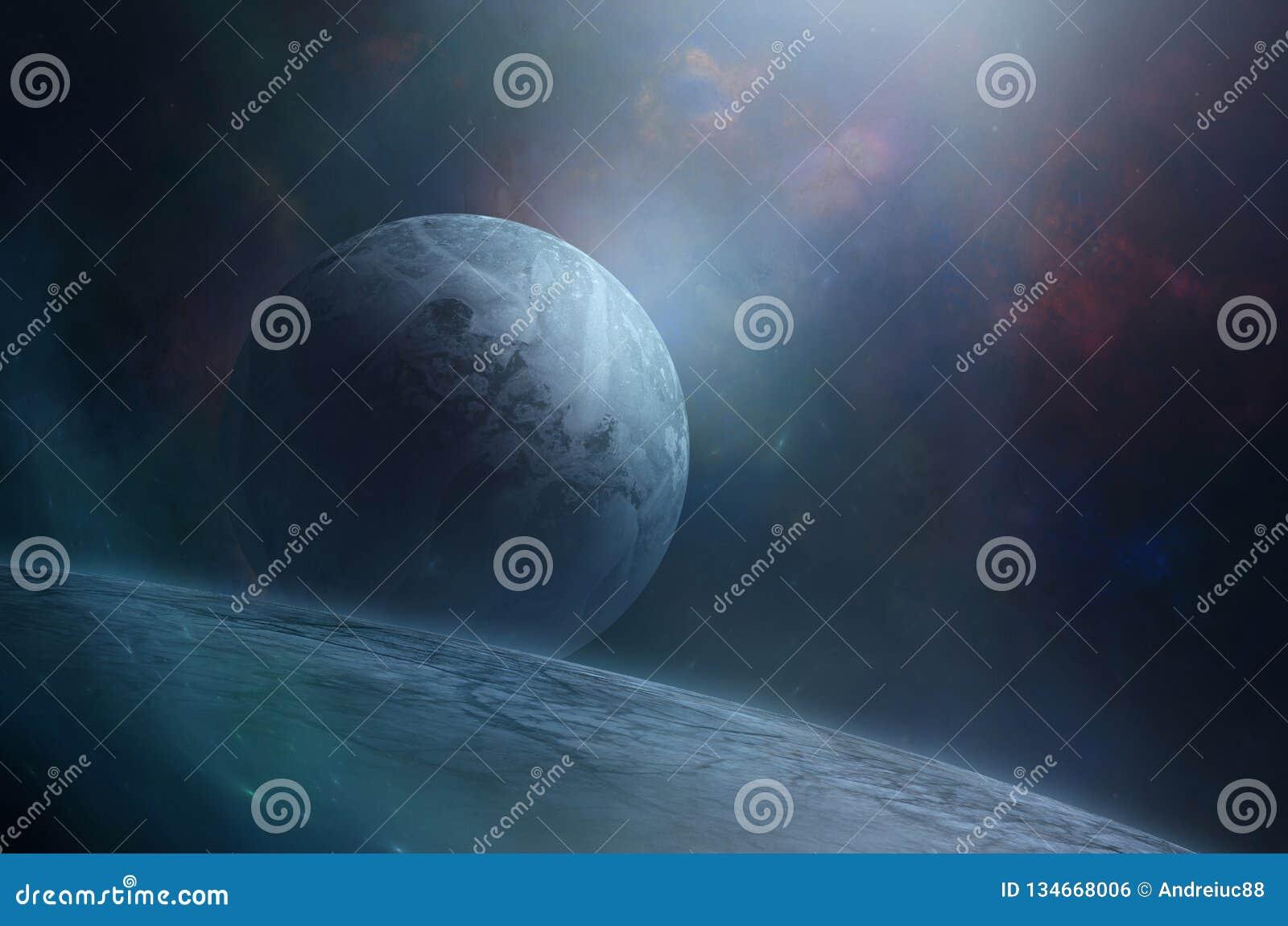 Blauwe maan over reuzeplaneet