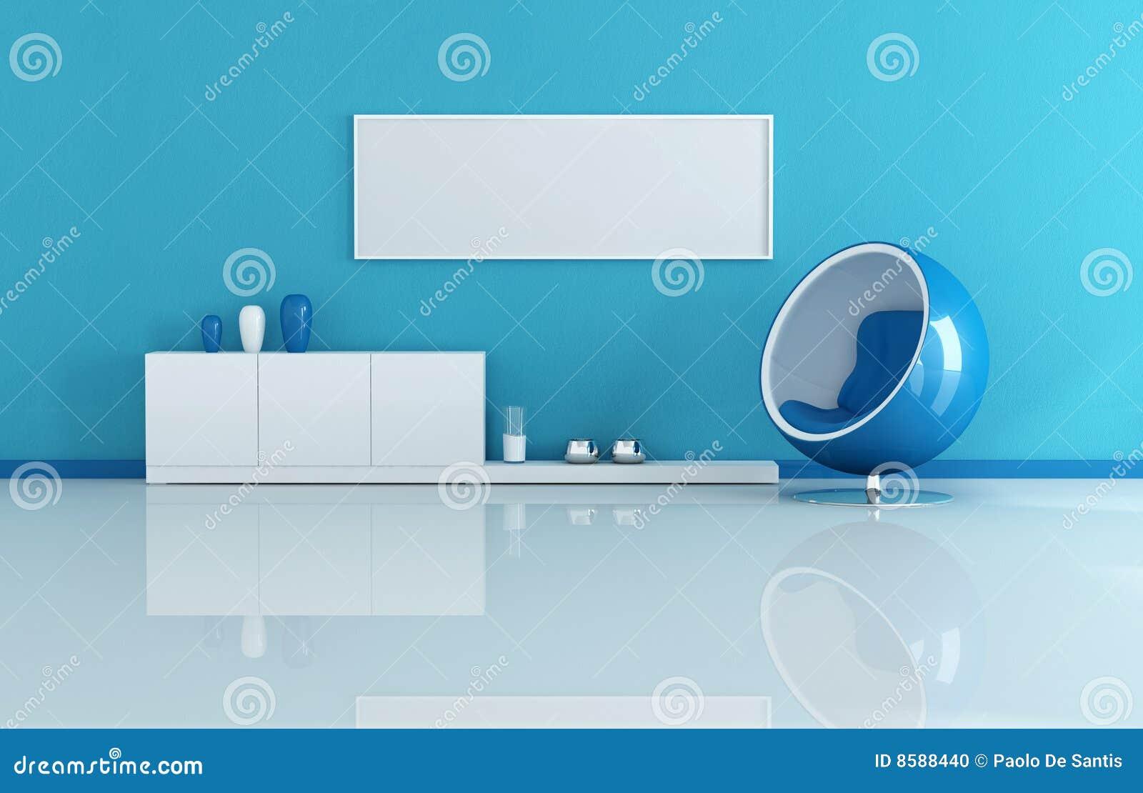 Blauwe Moderne Woonkamer Stock Foto   Beeld  8588440