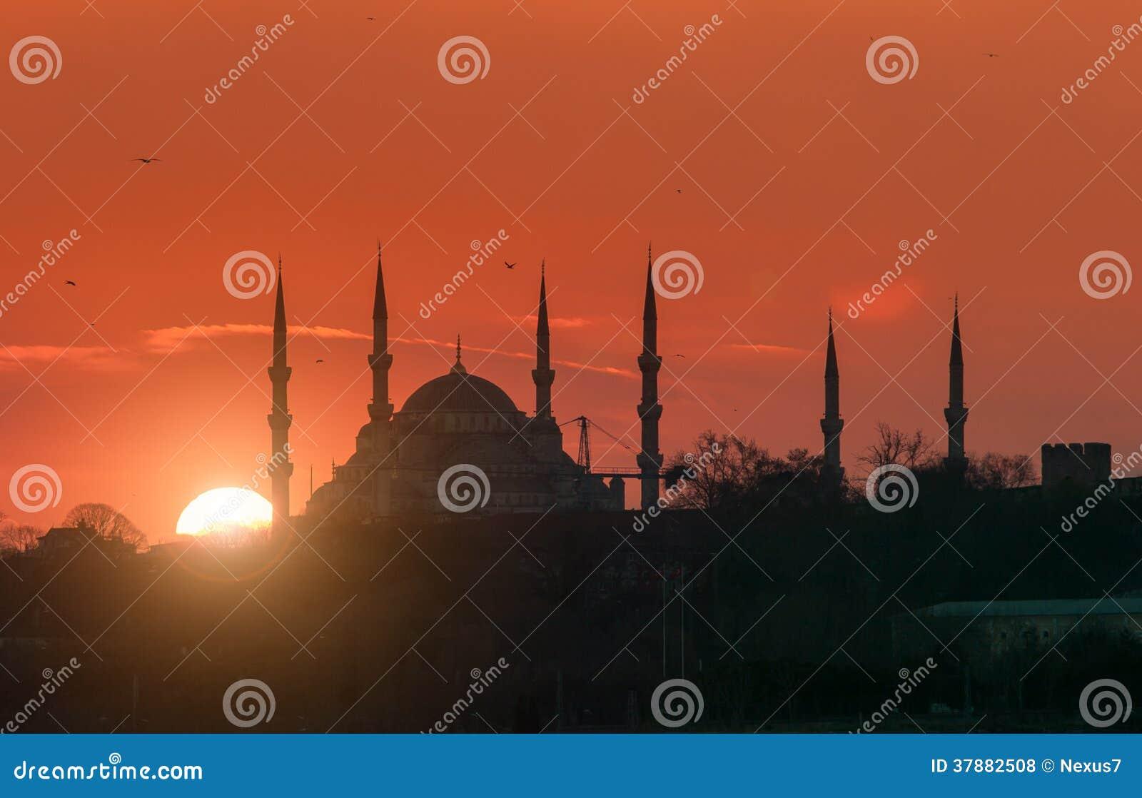 Blauwe Moskee tijdens Zonsondergang
