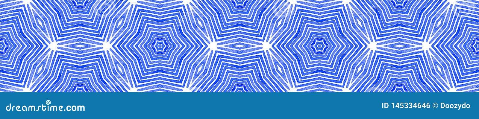 Blauwe Naadloze Grensrol Geometrische waterverf