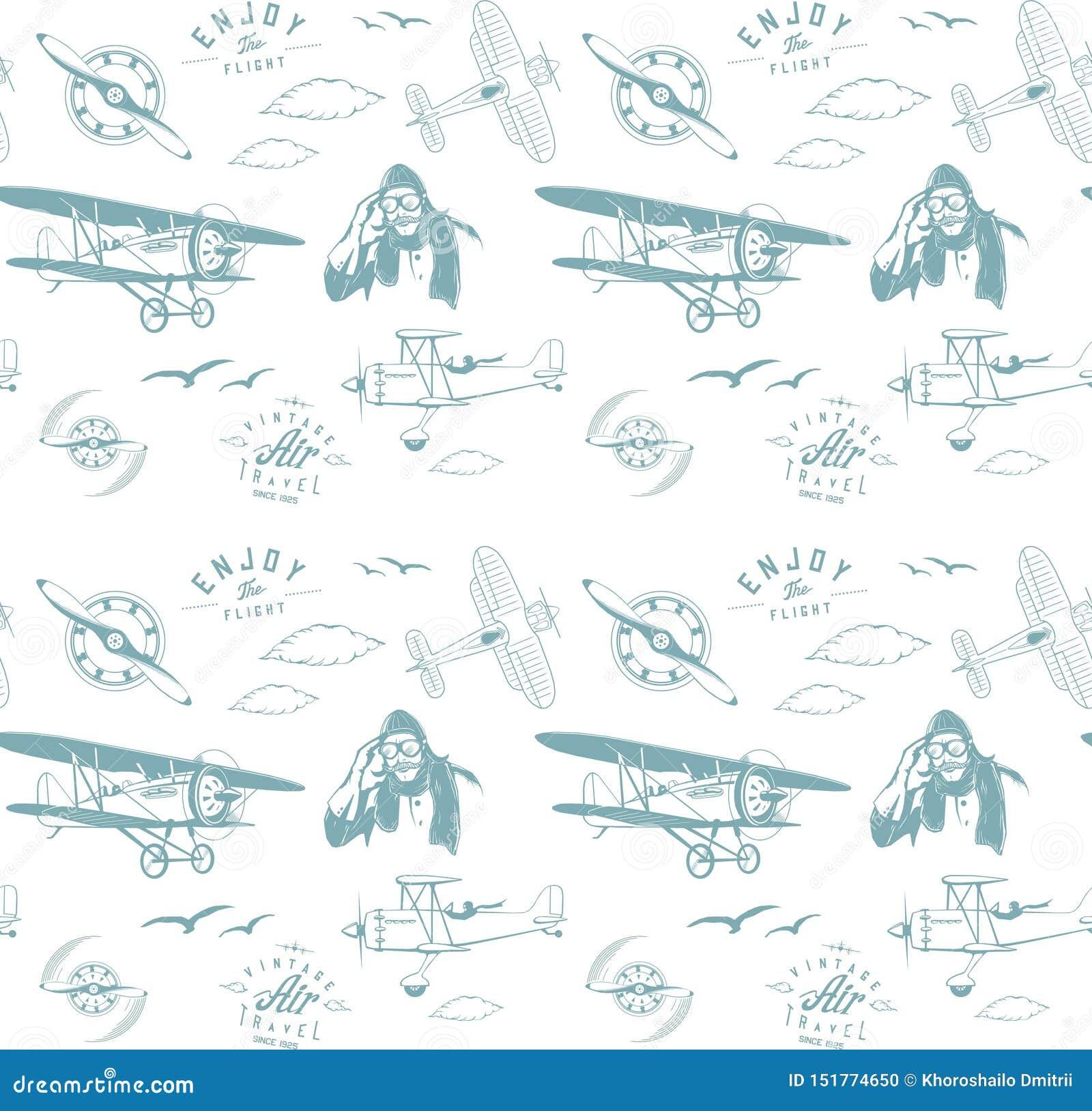 Blauwe naadloze het monogram retro wijnoogst van het luchtvaartpatroon