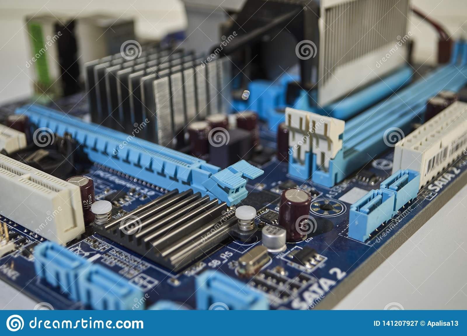 Blauwe PC-Motherboard, Computercomponent