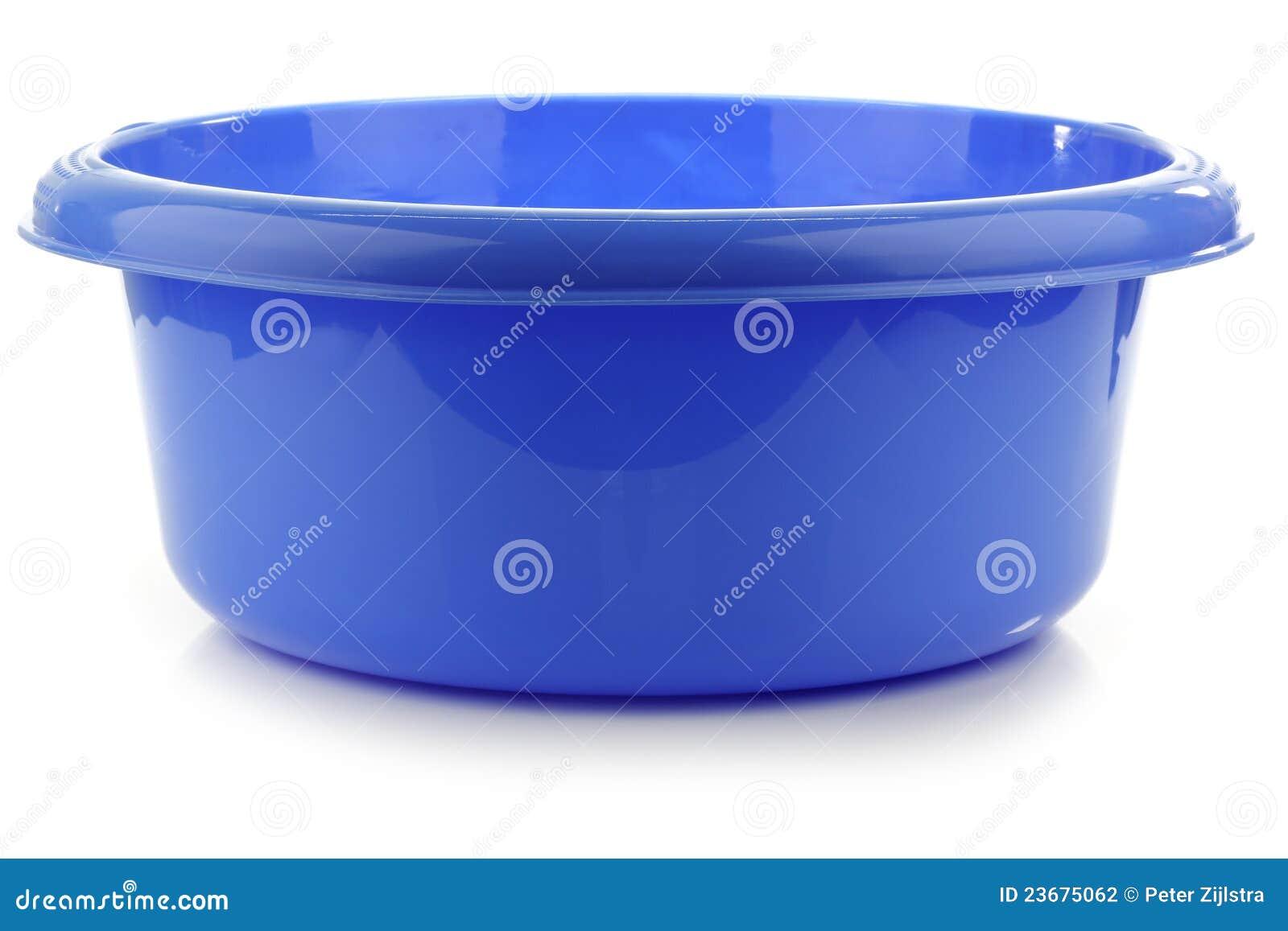 Blauwe plastic waskom stock fotografie   afbeelding: 23675062
