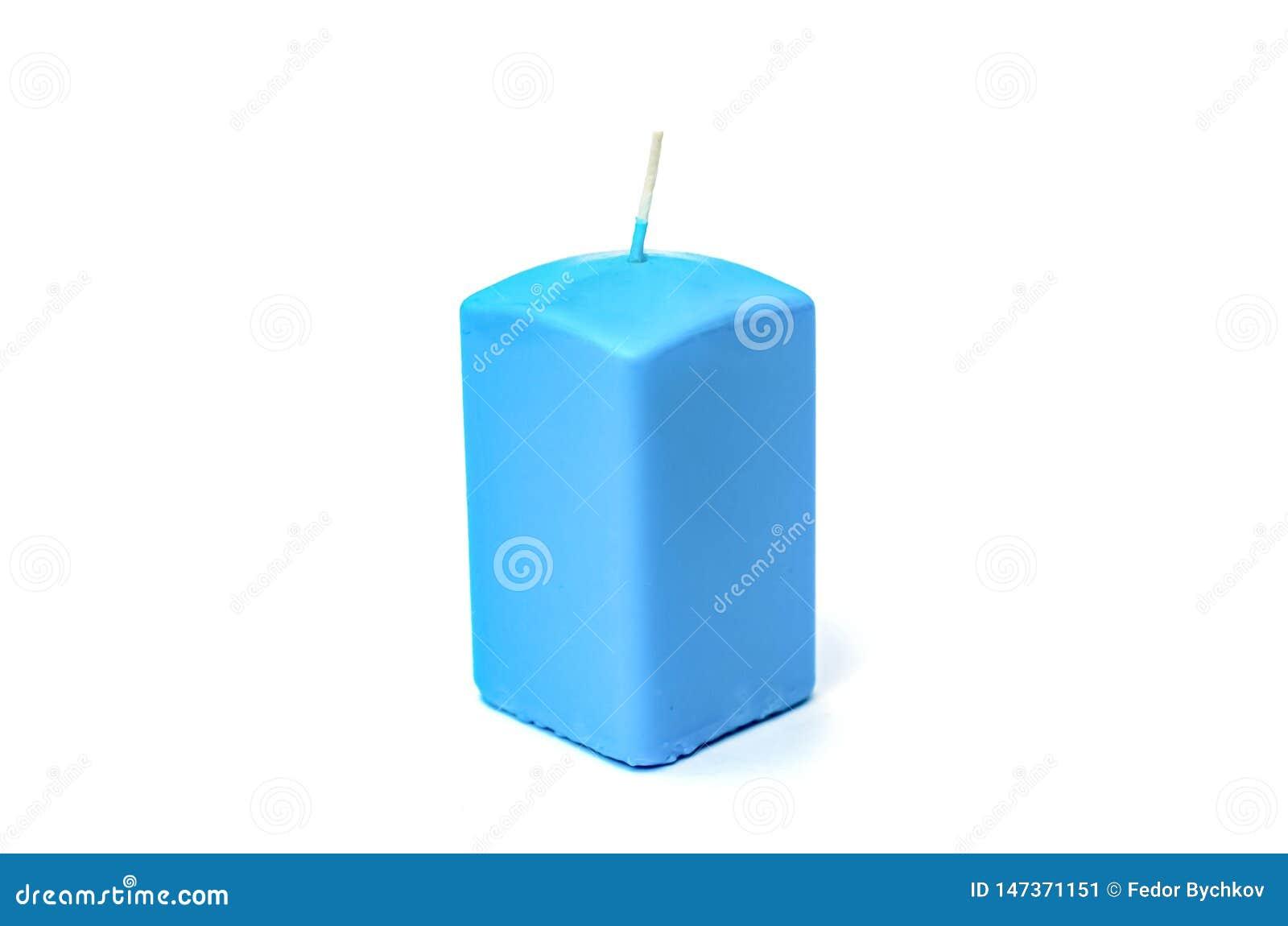 Blauwe rechthoekige kaars voor een vakantie