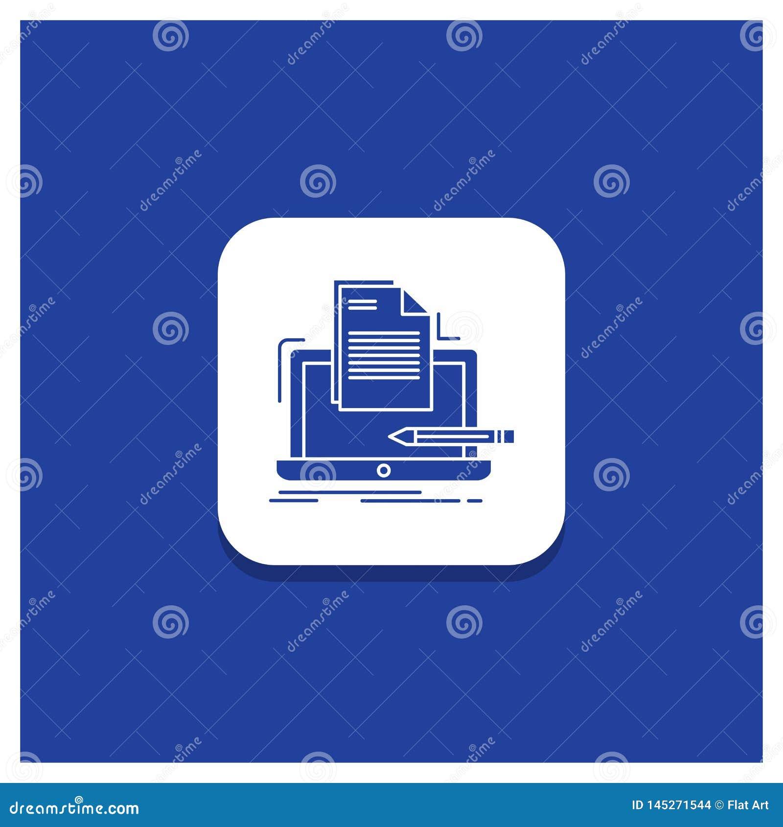 Blauwe Ronde Knoop voor Codeur, codage, computer, lijst, document het pictogram van Glyph