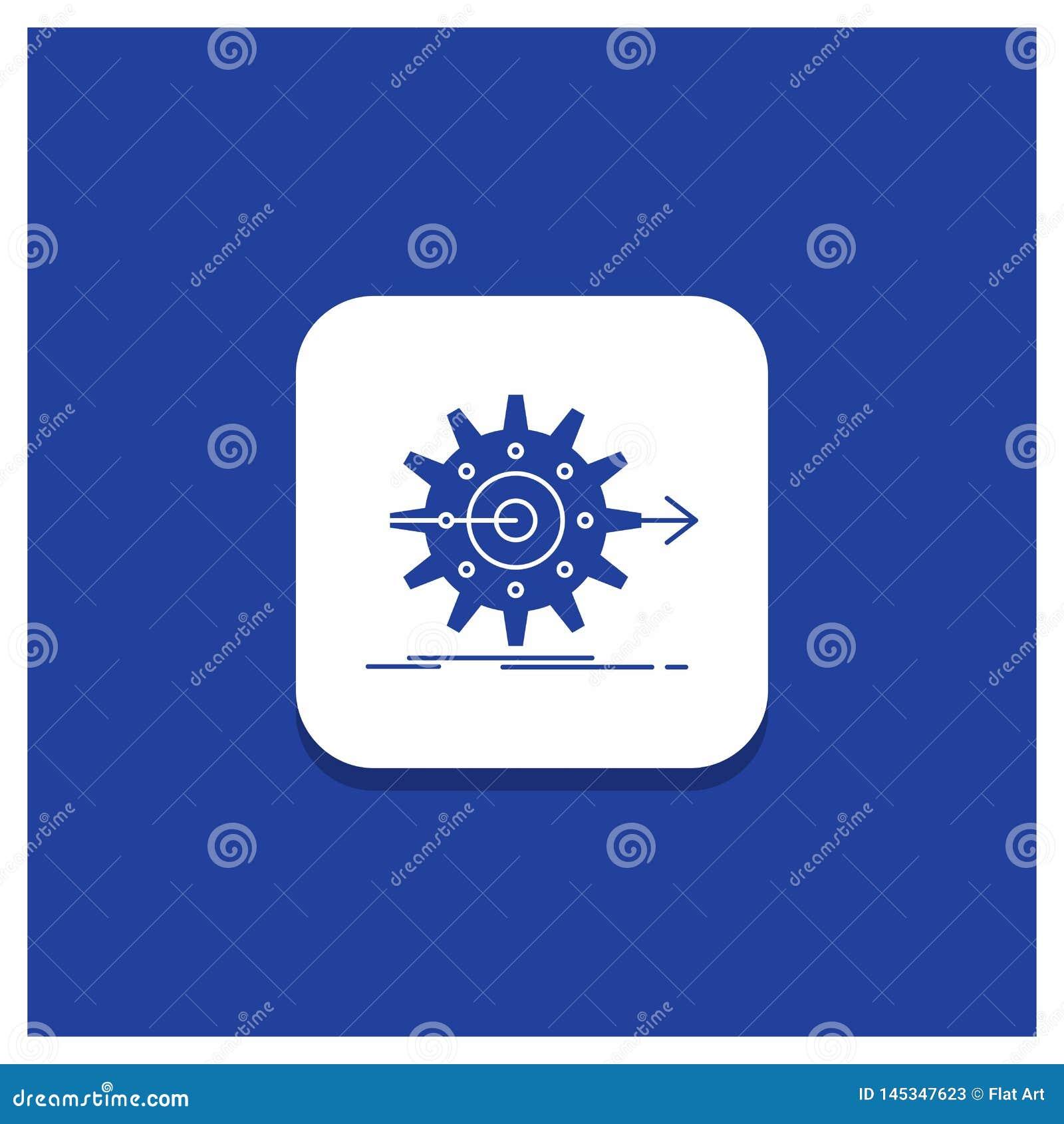 Blauwe Ronde Knoop voor prestaties, vooruitgang, het werk, het plaatsen, het pictogram van toestelglyph