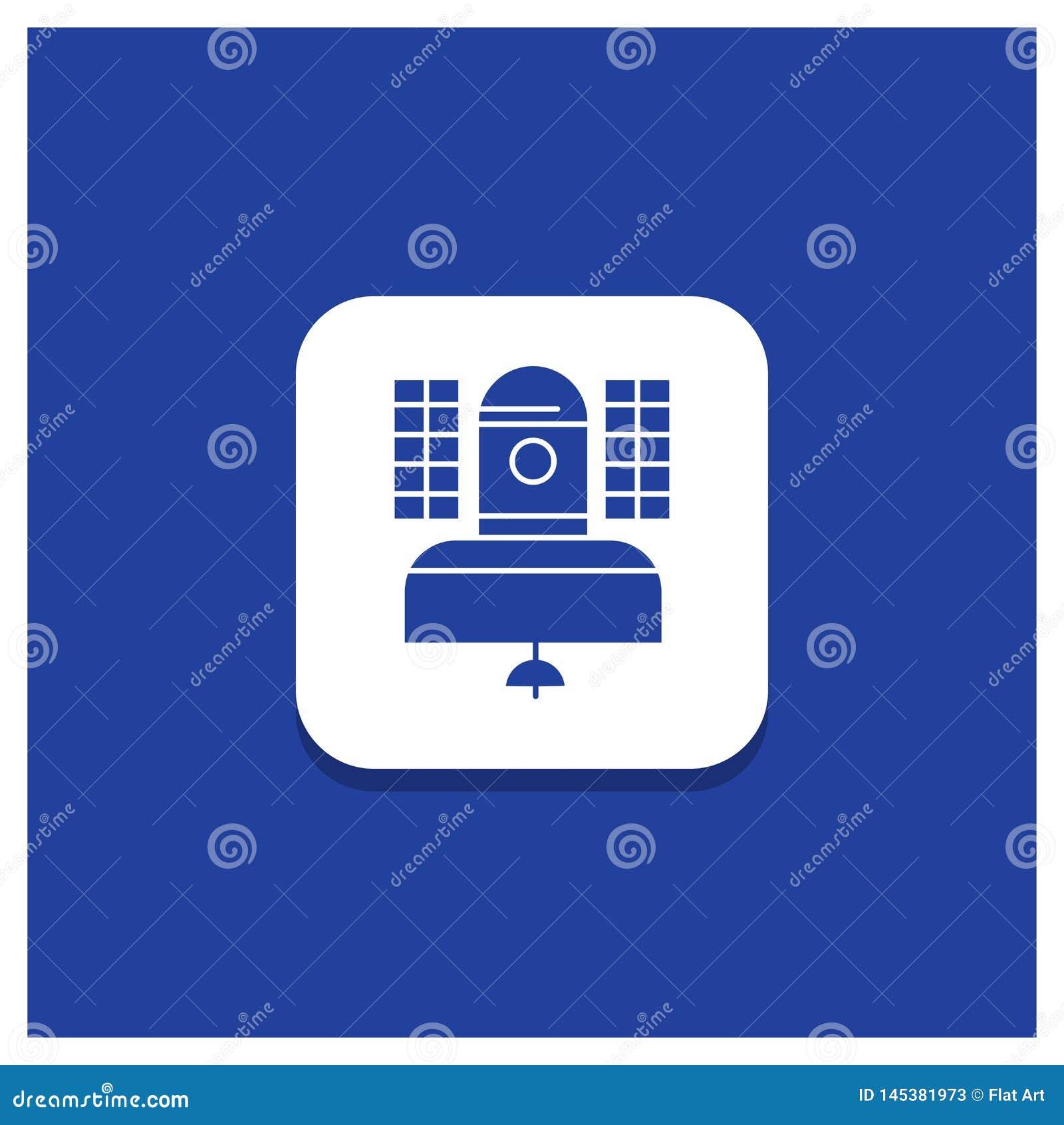 Blauwe Ronde Knoop voor Satelliet, uitzending, het uitzenden, mededeling, het pictogram van telecommunicatieglyph