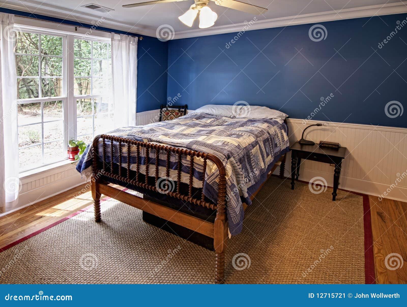 Blauwe Slaapkamer Stock Afbeelding - Afbeelding: 12715721