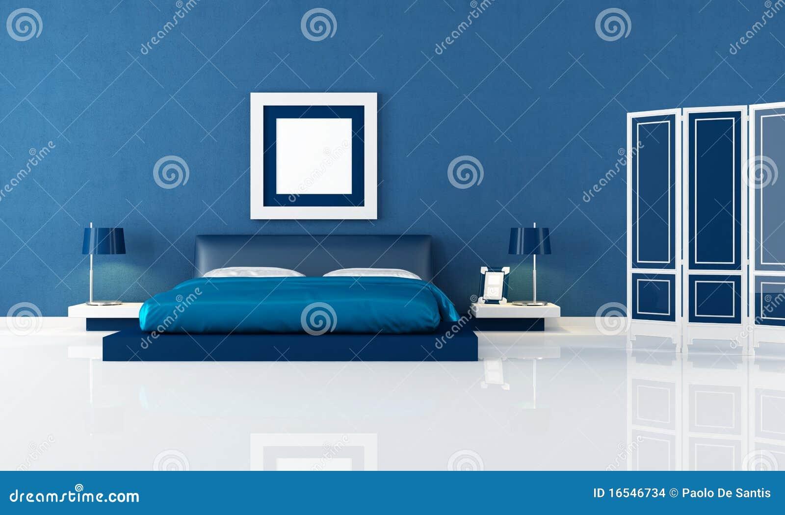 Blauwe slaapkamer stock afbeeldingen afbeelding 16546734 - Eigentijdse stijl slaapkamer ...