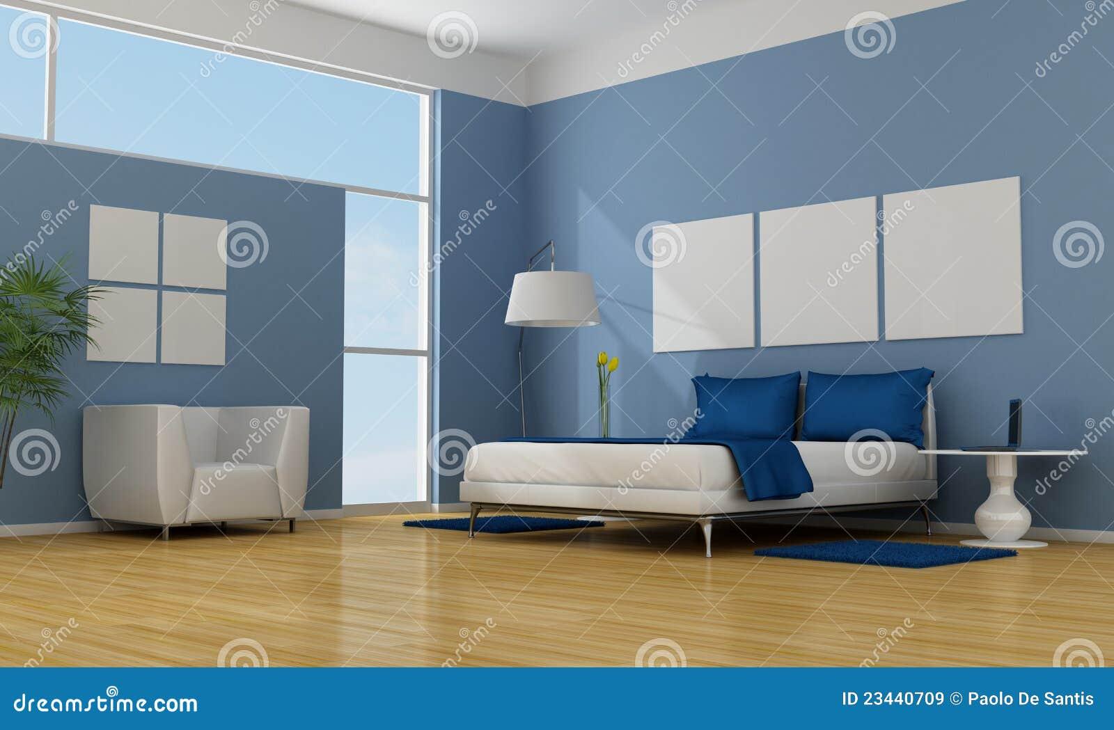 Blauwe slaapkamer stock illustratie afbeelding bestaande uit ontspan 23440709 - Eigentijdse stijl slaapkamer ...
