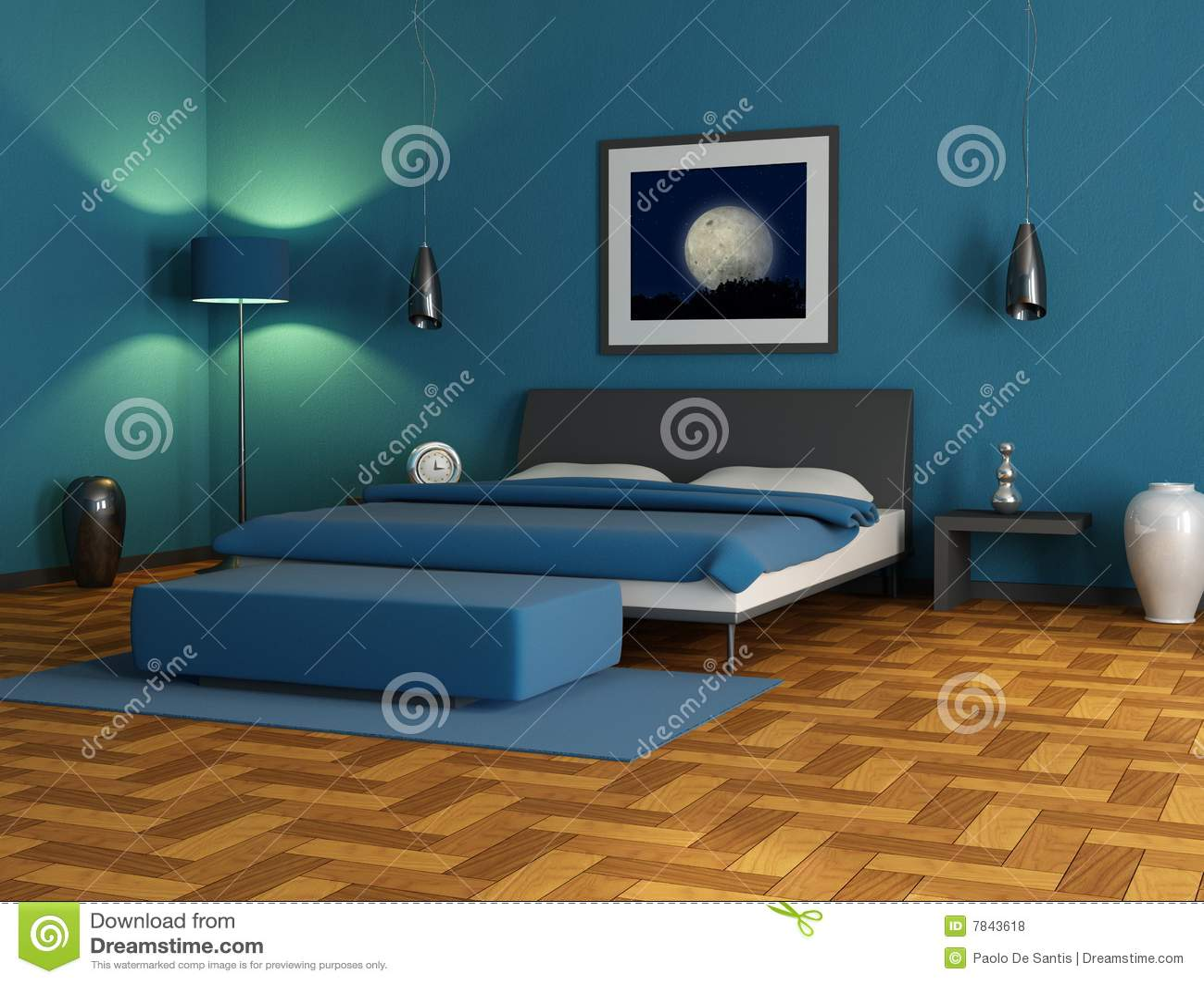 Blauwe slaapkamer royalty vrije stock foto 39 s beeld 7843618 - Eigentijdse slaapkamer ...