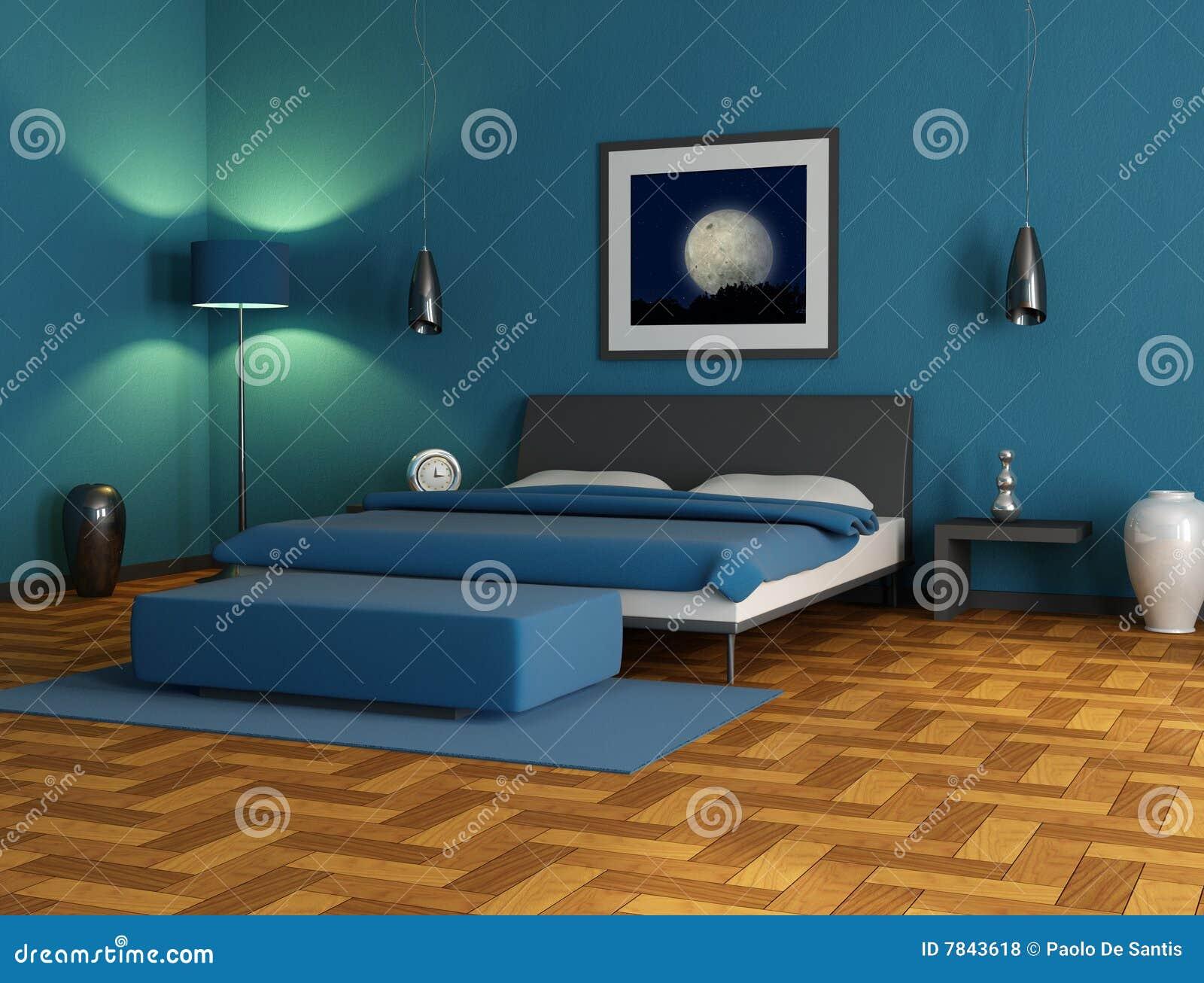 Blauwe Slaapkamer Muur : blauwe slaapkamer, digitaal kunstwerk. De ...