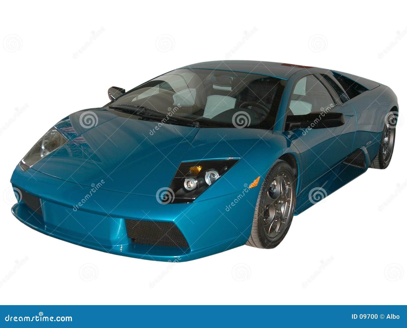 Blauwe snelle auto