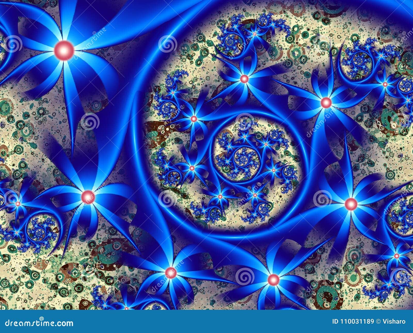 Blauwe spiraal van bloemen