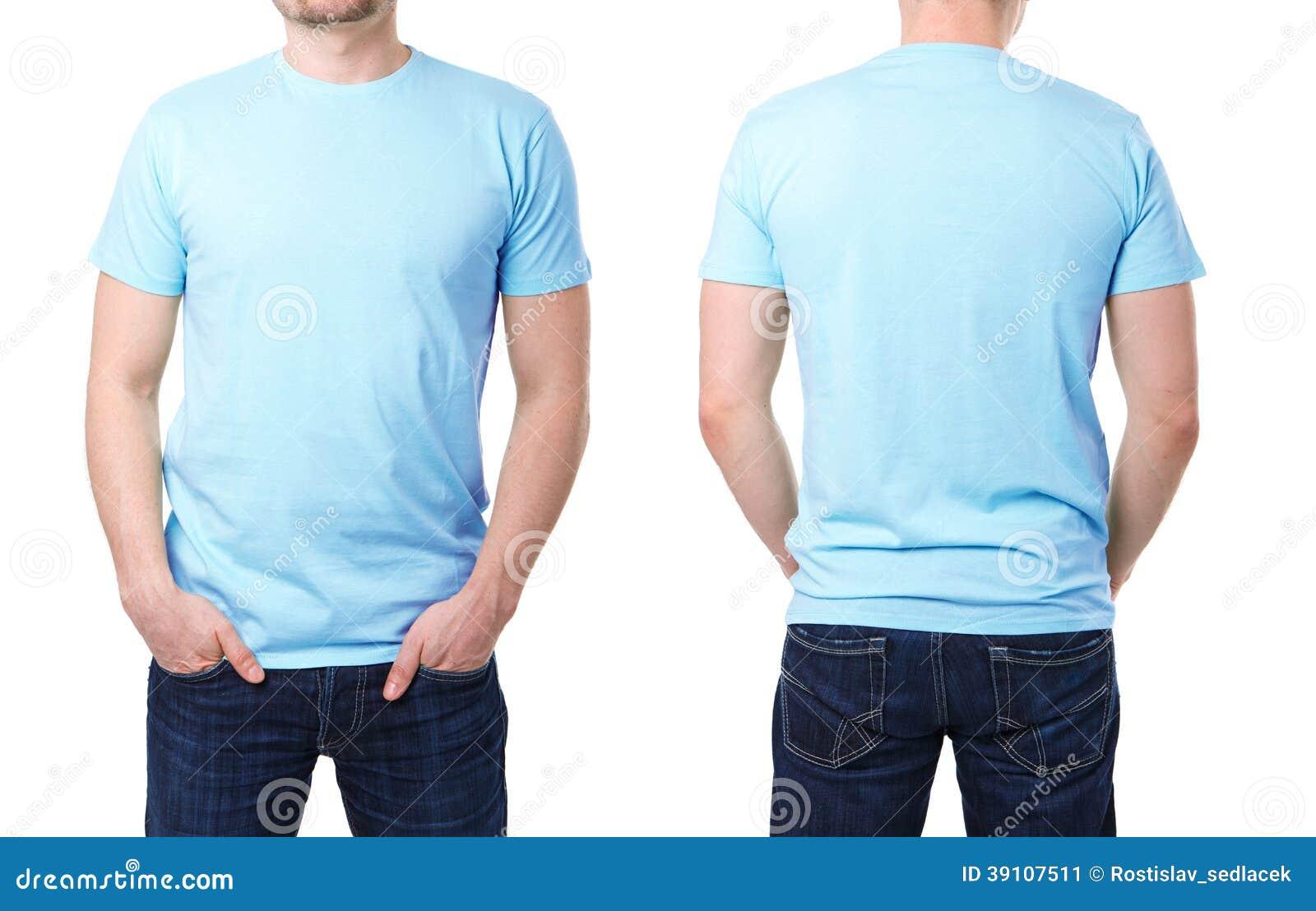 Blauwe t-shirt op een jonge mensenmalplaatje