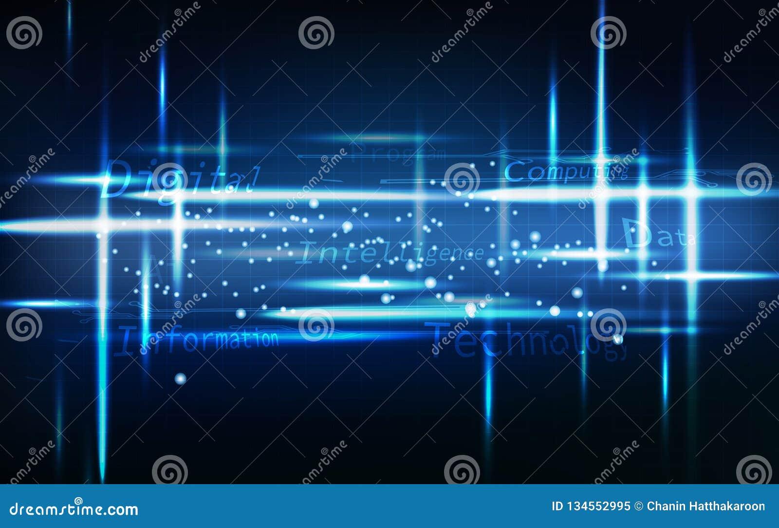 Blauwe technologiesamenvatting, neon gloeiend helder, digitaal bericht met van de rasterlijnenkring vectorillustratie als achterg