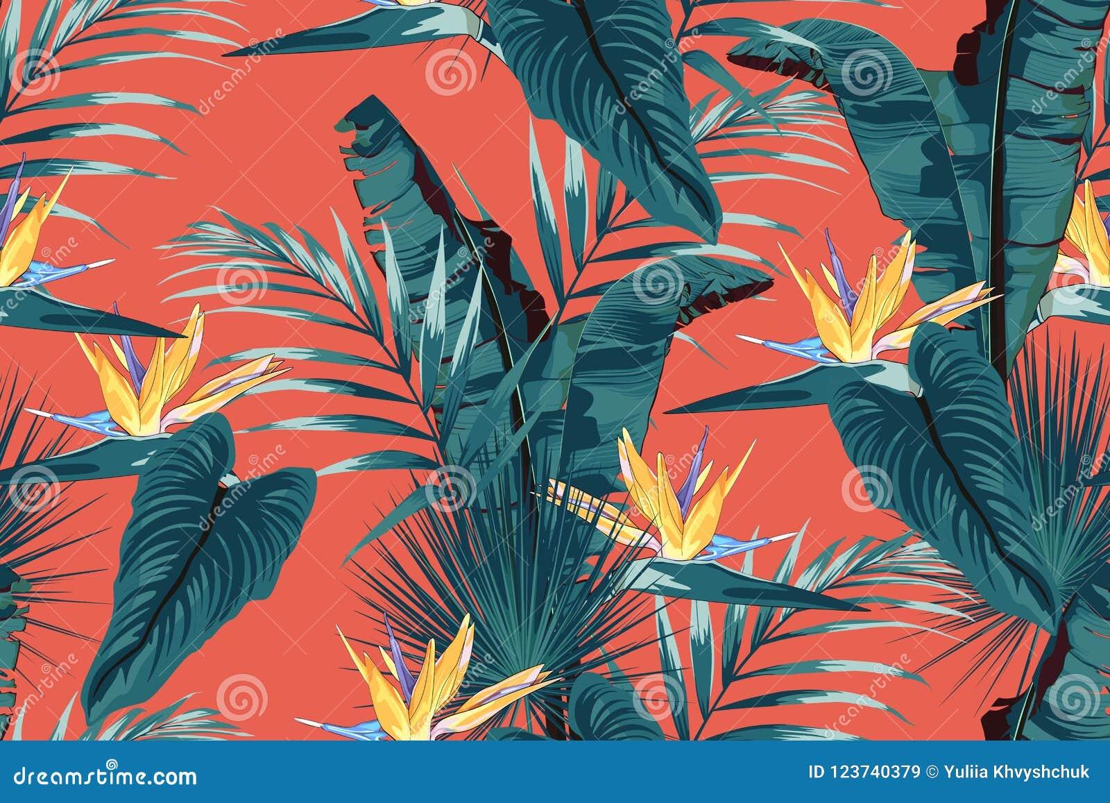Blauwe tropische bladeren met wildernisinstallaties Naadloos vector tropisch patroon met monsterabladeren en gele strelitziabloem