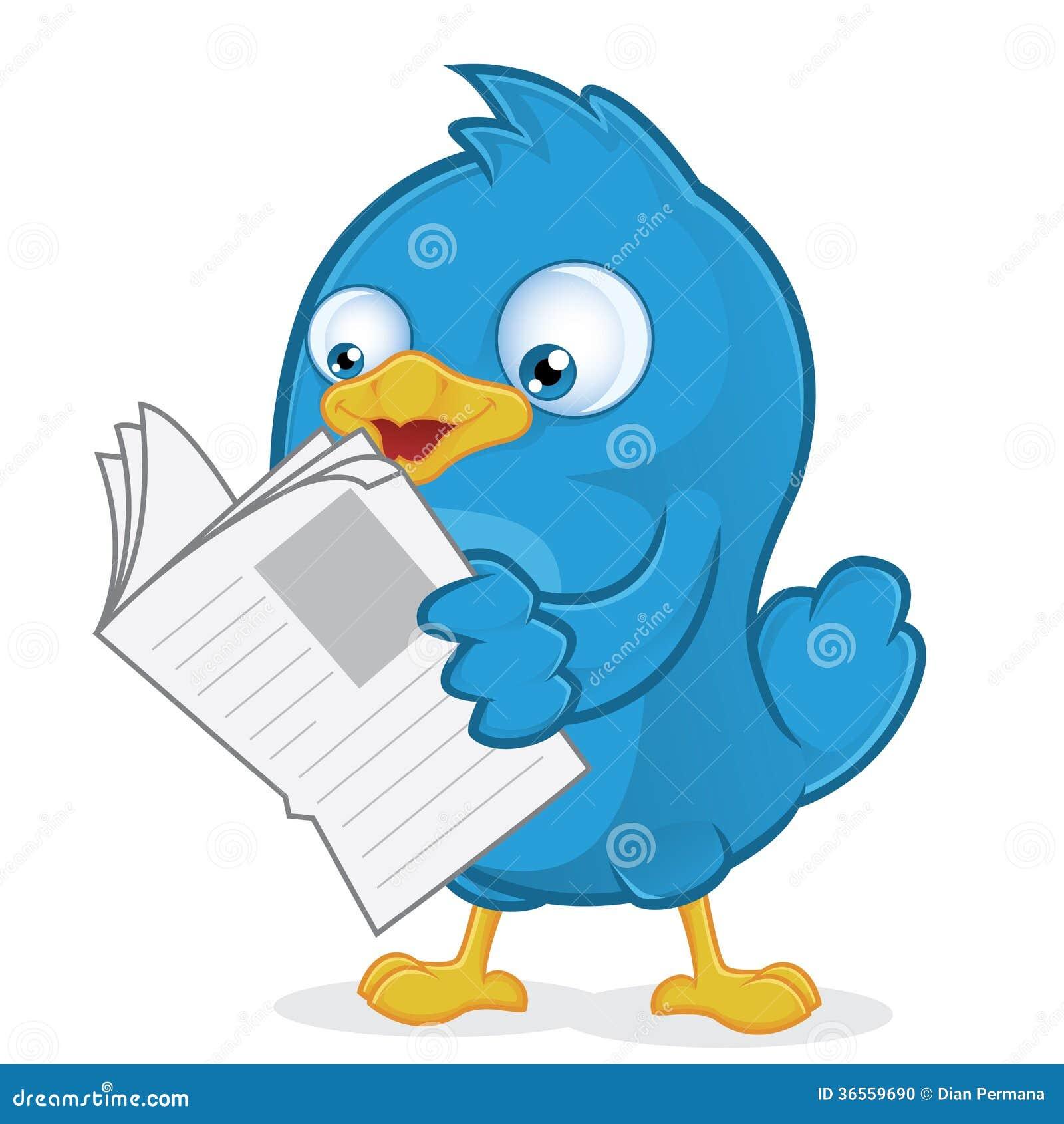 Blauwe Vogel die een Krant lezen