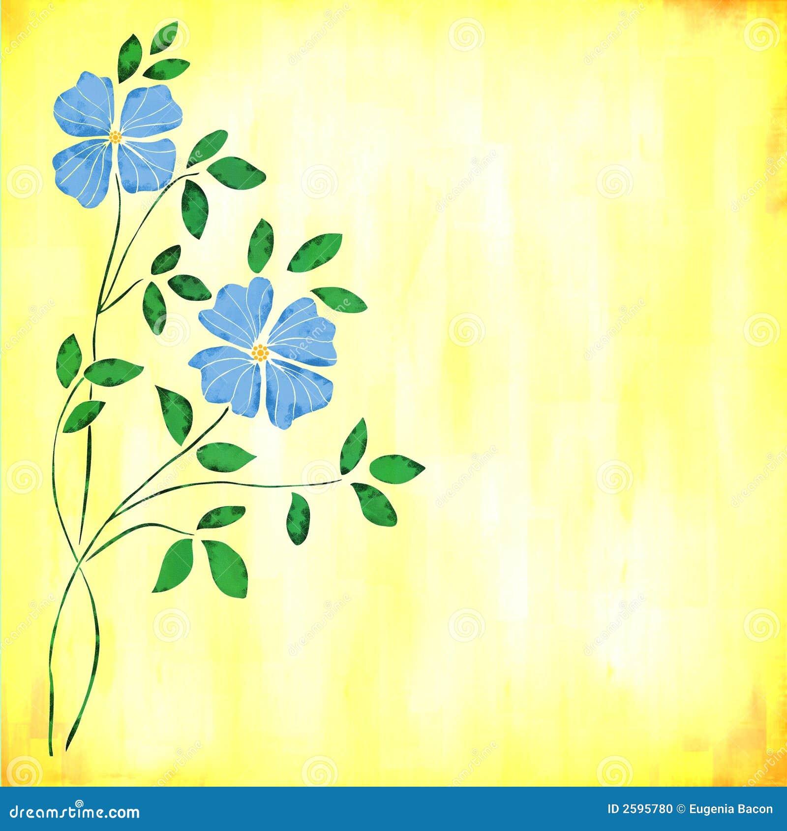 Blauwe waterverfbloemen