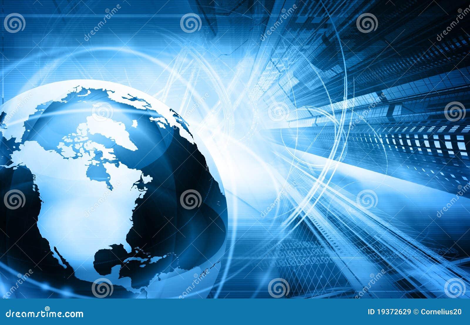Blauwe wereldkaart en wolkenkrabbers