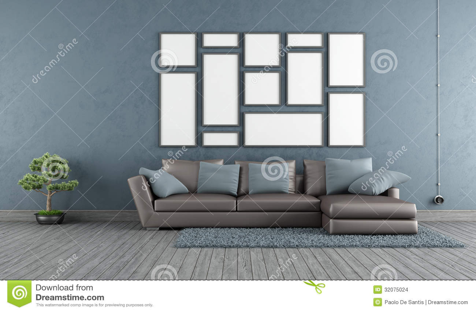 Blauwe woonkamer stock afbeeldingen afbeelding 32075024 - Woonkamer muur grijs ...