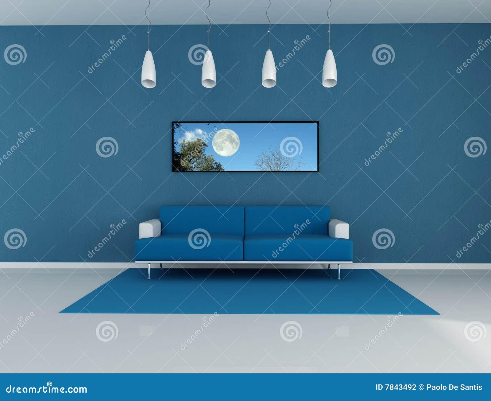 Woonkamer Blauwe Muur : Blauwe Woonkamer Stock Fotografie - Afbeelding ...