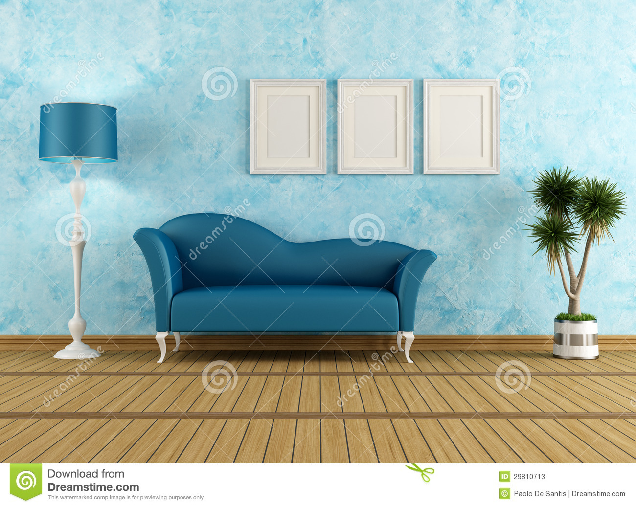 Woonkamer Met Vide : Blue Living Room with Couch