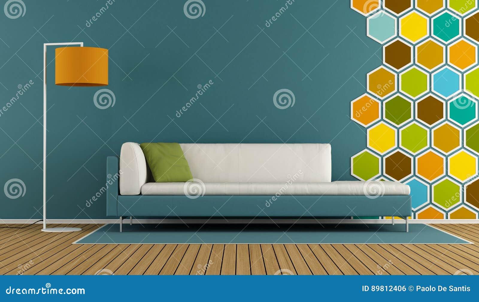 Blauwe Woonkamer Met Hexagon Decoratie Stock Illustratie ...