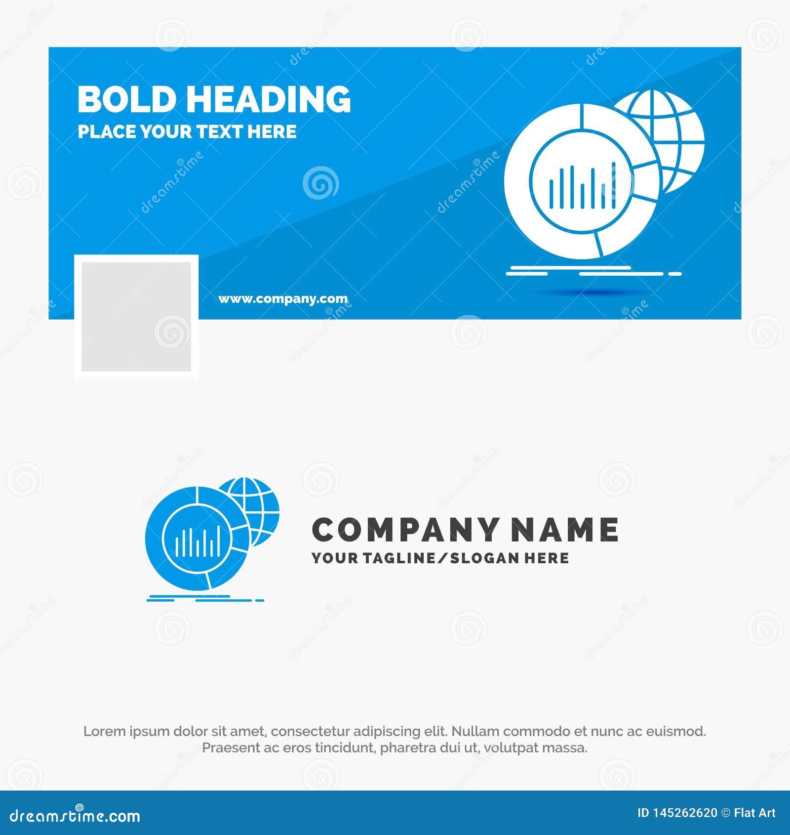 Blauwe Zaken Logo Template voor Groot, grafiek, gegevens, infographic wereld, Facebook-het Ontwerp van de Chronologiebanner De ve