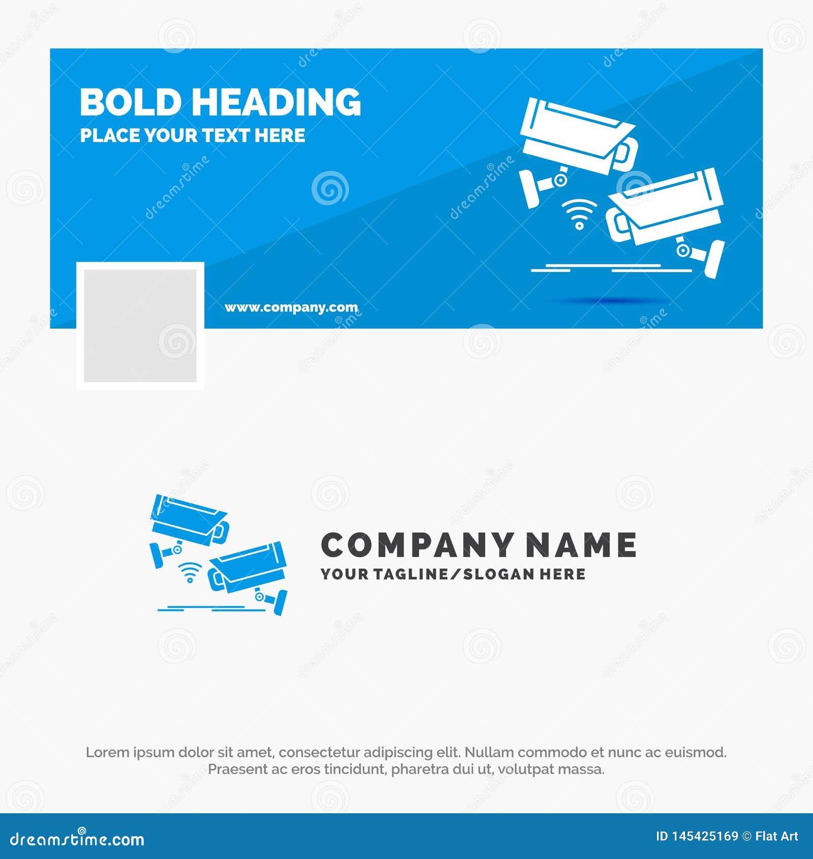 Blauwe Zaken Logo Template voor kabeltelevisie, Camera, Veiligheid, Toezicht, Technologie Facebook-het Ontwerp van de Chronologie