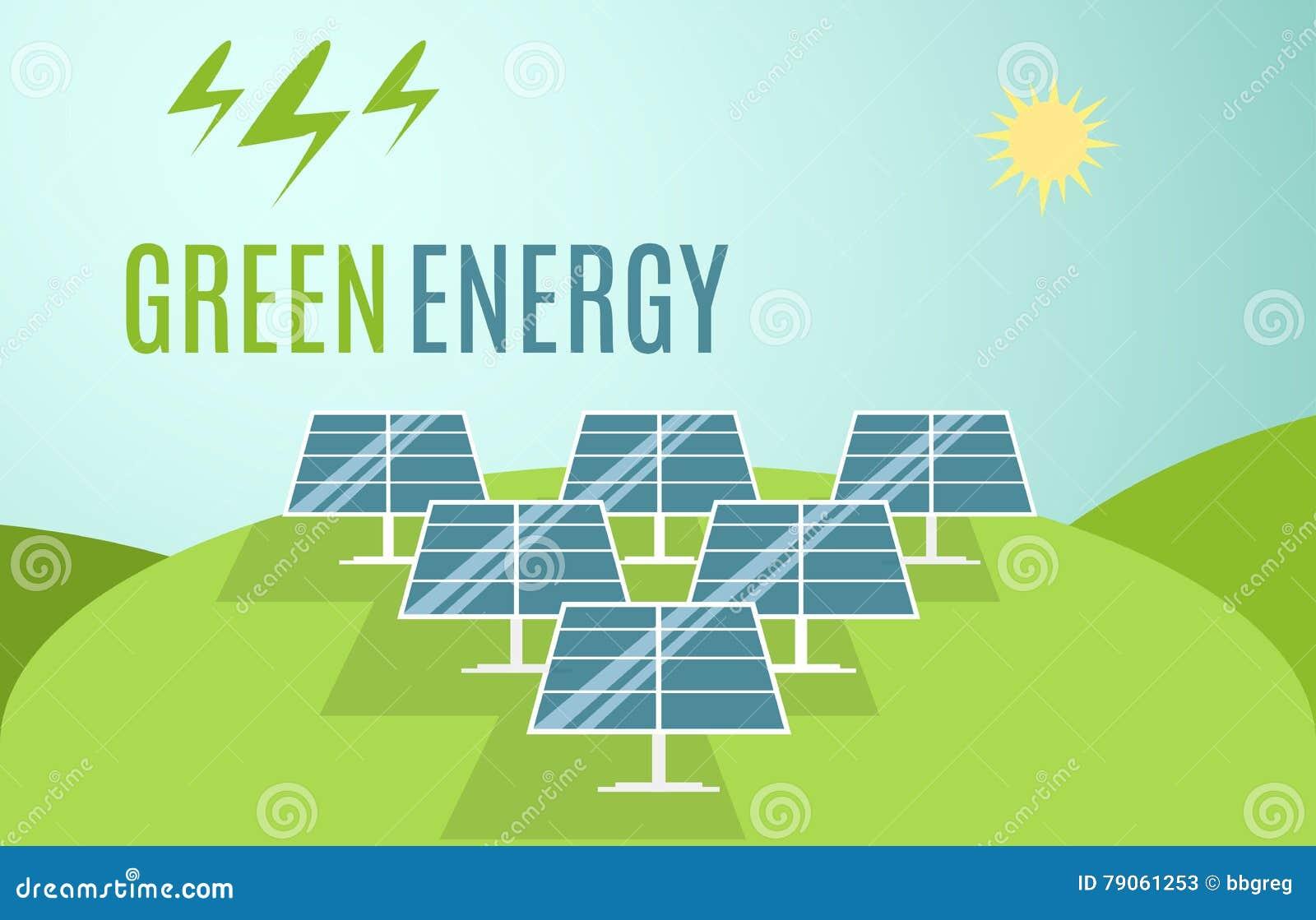 Blauwe Zonnepanelenbanner De moderne Alternatieve Groene Energie van Eco Vector illustratie