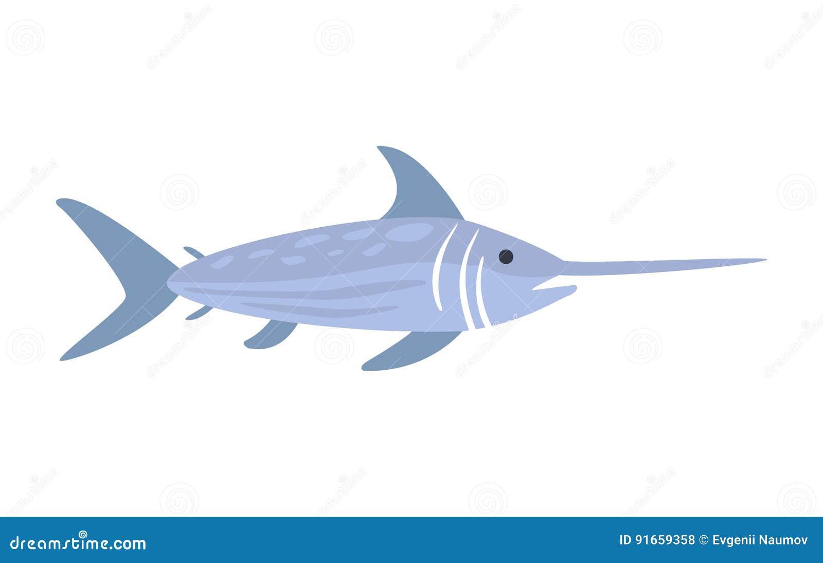 Blauwe Zwaardvissen, een Deel van de Illustratiesreeks van Marine Animals And Reef Life van de Middellandse Zee