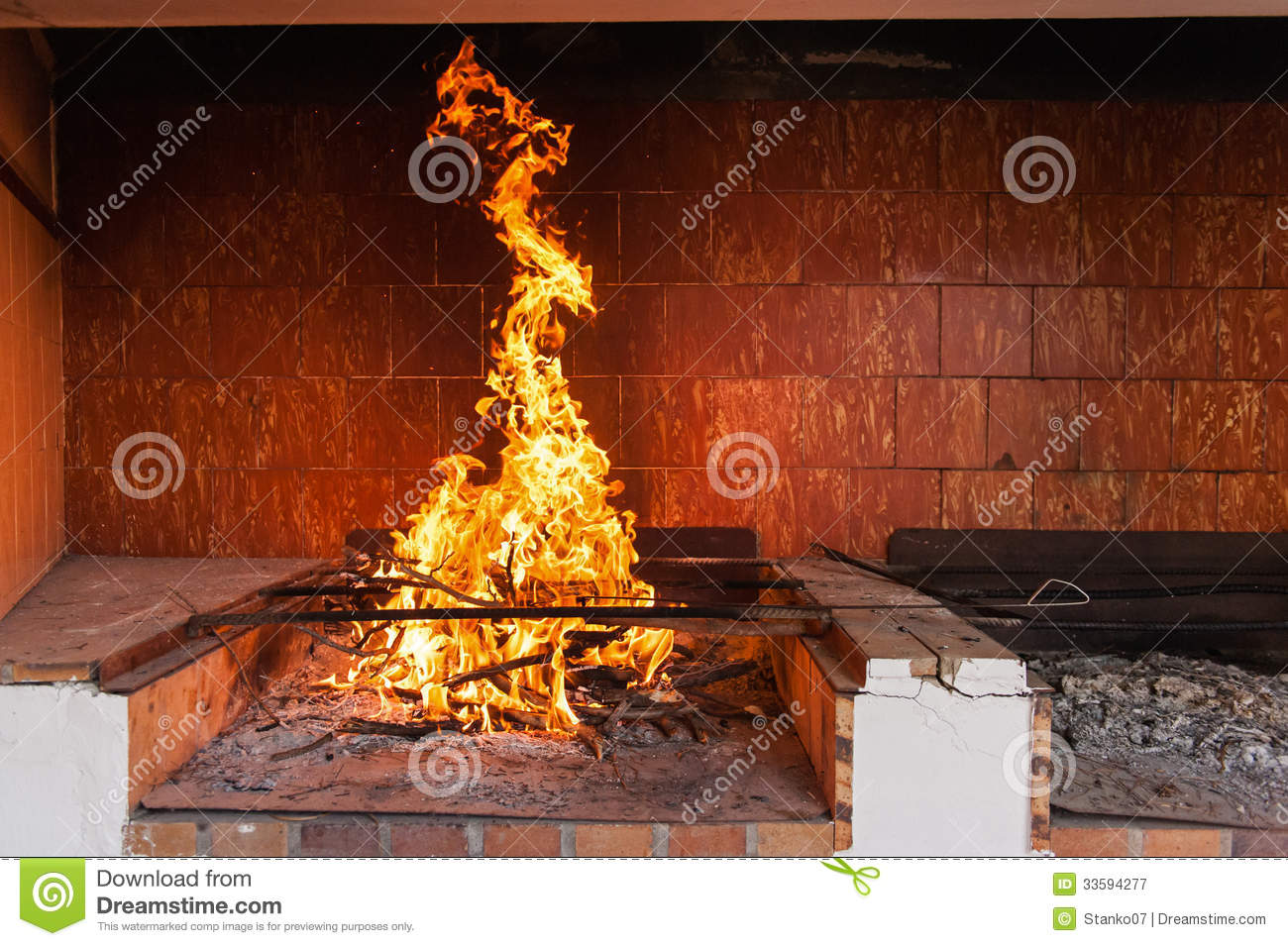 blazing fireplace stock image image of burn frying 33594277