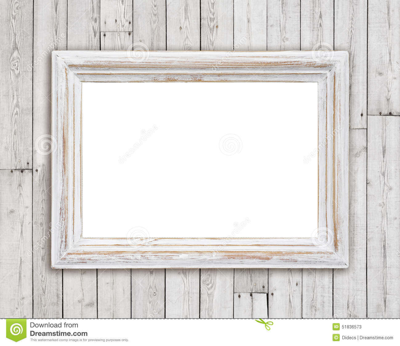 Bleached Wooden Picture Frame On Vintage Plank Wall