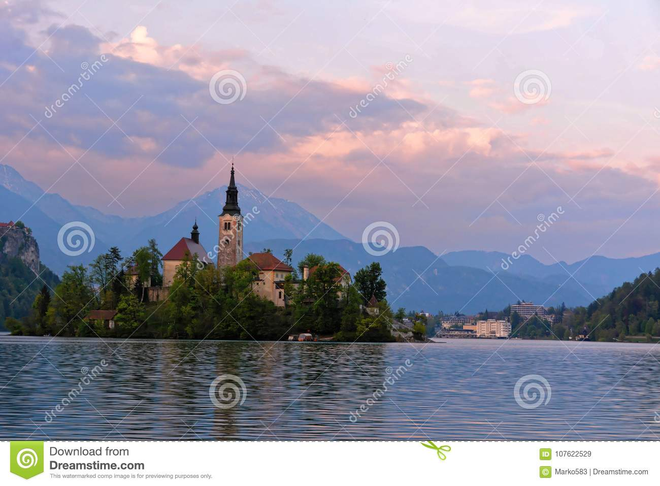 Little Island with Catholic Church in Bled Lake, Slovenia