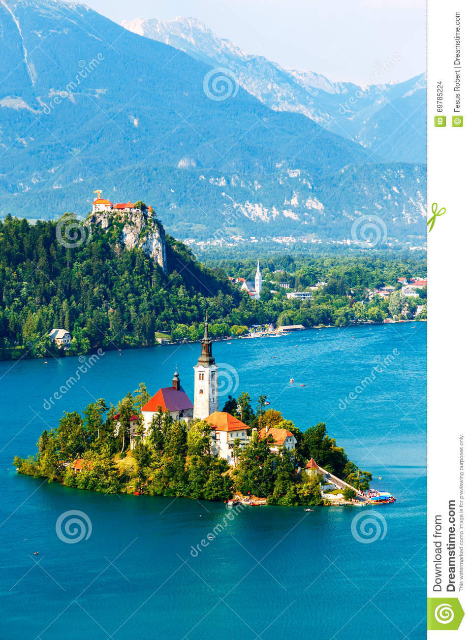 Bled with lake in summer, Slovenia