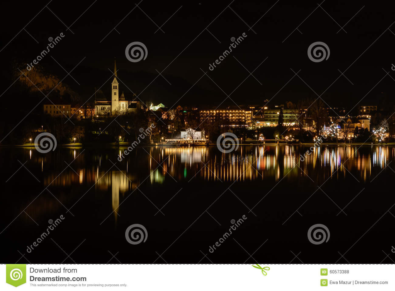 Bled Stock Photo Image Of Church Cliff Evening Dark