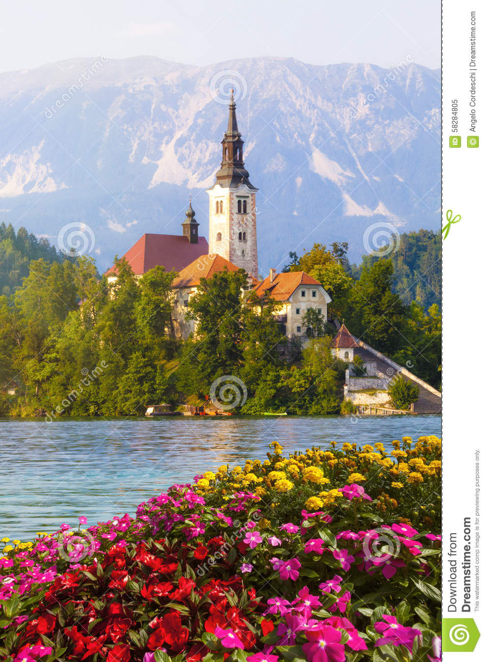 Bled, Slovenia. Island in the middle of the lake with church