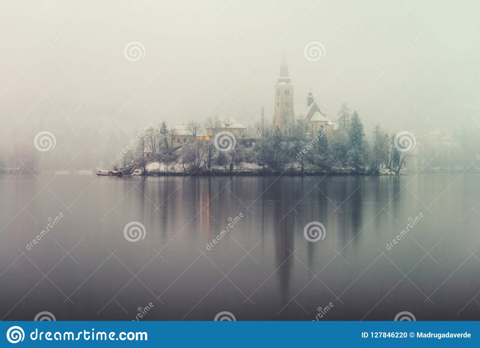 Anoramic view of Bled lake in the morning, Slovenia